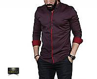 Мужская бордовая рубашка с длинным рукавом, фото 1