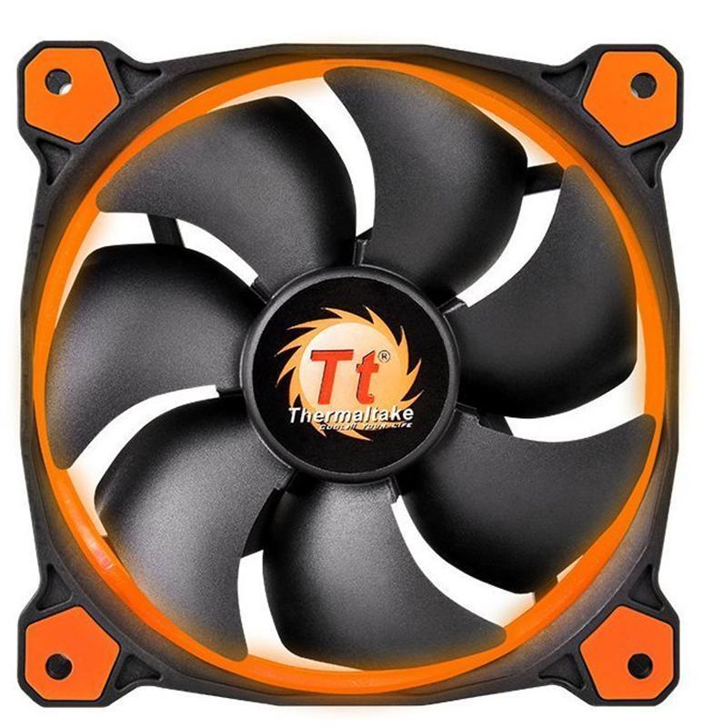 Вентилятор Thermaltake Riing 14 LED Orange (CL-F039-PL14OR-A), 140х140х25 мм, 3pin, черный
