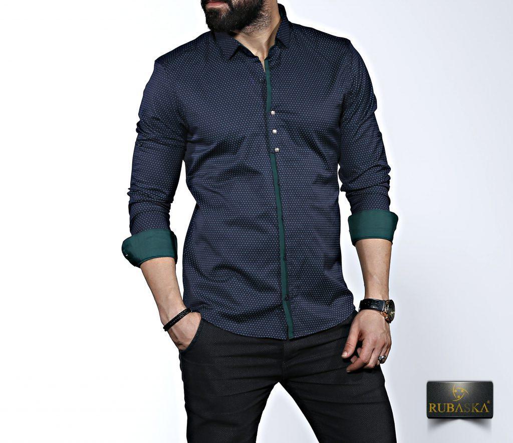 Чоловіча темно-зелена сорочка з довгим рукавом