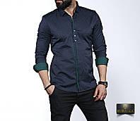 Чоловіча темно-зелена сорочка з довгим рукавом, фото 1