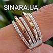 Серебряное кольцо с золотом и фианитами, фото 7