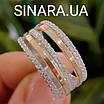 Серебряное кольцо с золотом и фианитами, фото 6