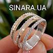 Серебряное кольцо с золотом и фианитами, фото 2