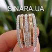 Серебряное кольцо с золотом и фианитами, фото 3