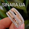 Серебряное кольцо с золотом и фианитами, фото 4