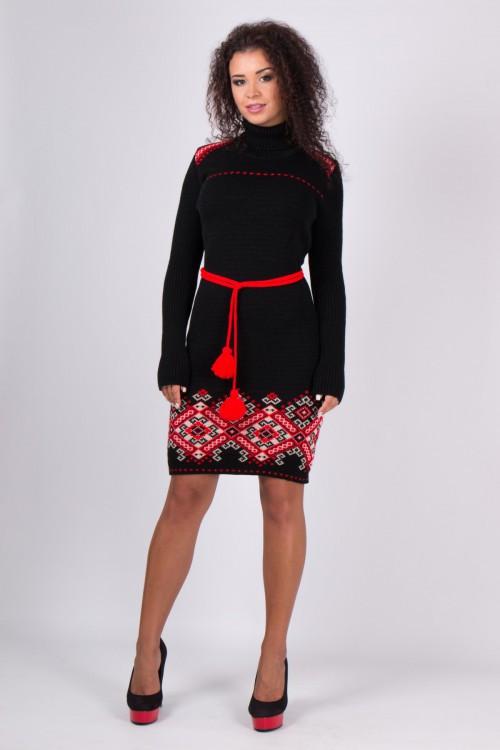 Молодежное платье Иванка черный - алый(42-48)