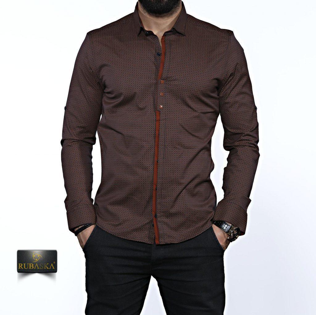 Мужская коричневая рубашка с длинным рукавом