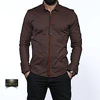 Мужская коричневая рубашка с длинным рукавом, фото 1