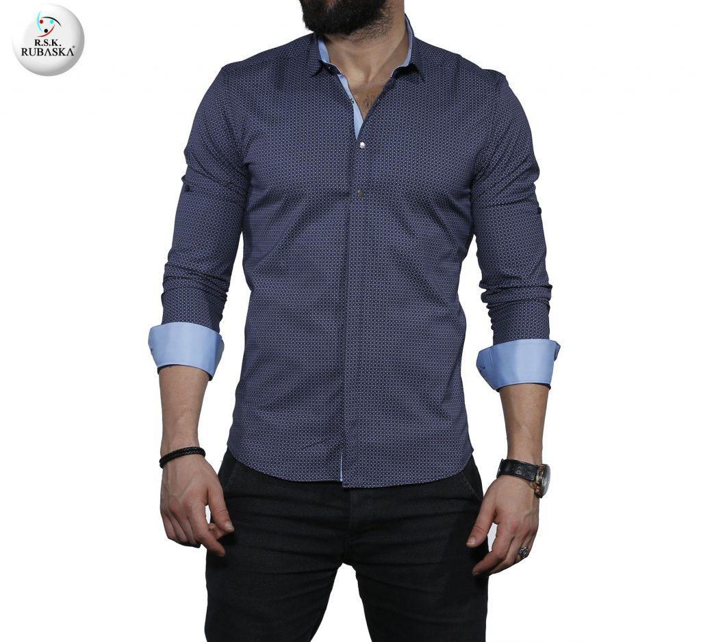 Чоловіча темно-синя сорочка з довгим рукавом