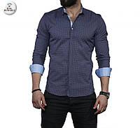 Чоловіча темно-синя сорочка з довгим рукавом, фото 1