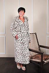 Довгий махровий халат леопард