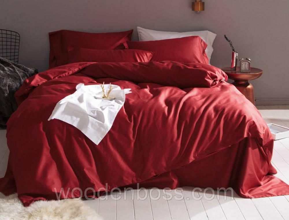 """Комплект постельного белья """"Сатин однотонный WINE RED, №23"""""""