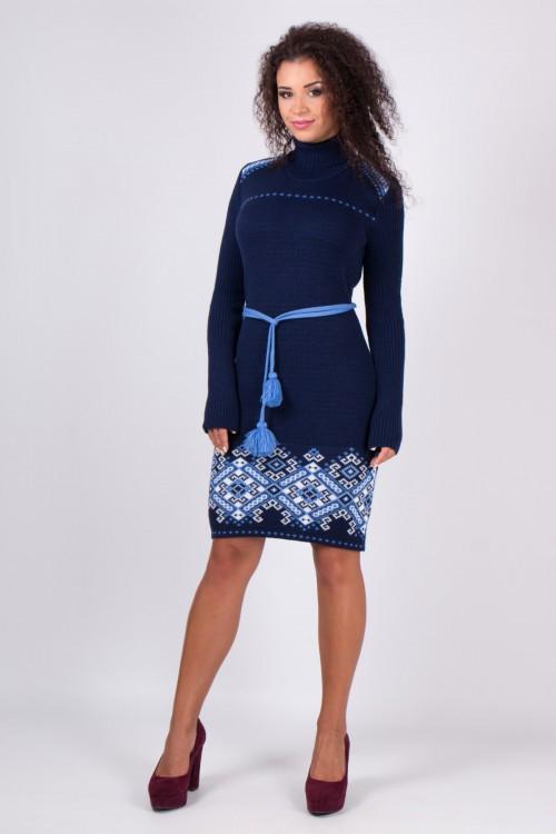 Женское вязанное платье Иванка синий-голубой(42-48)