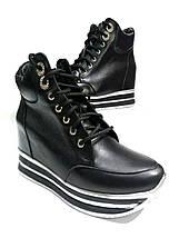 Женские демисезонные  ботинки из натуральной кожи cо скрытой танкеткой, фото 2