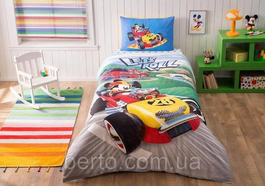 Подростковый детский комплект белья TAC Mickey Racer простынь на резинке