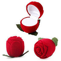"""[4.5x4.1 см] Подарочная коробочка-футляр под украшение """"Красная бархатная роза"""" из велюра"""