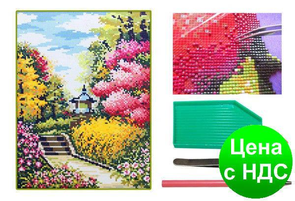 Мозаика алмазная 5D Цветущий сад 31*40 см., фото 2