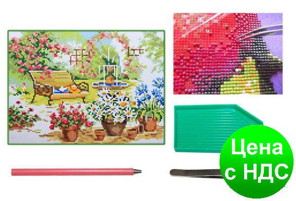 Мозаїка алмазна 5D Квітучий сад 31*40 див., фото 2
