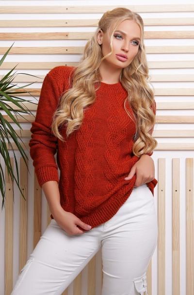 Теплый вязаный свитер 48- 54 размера