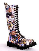 Разноцветные с принтом высокие женские ботинки Steel на 20 дырок 139-140/O/FULL GRAFFITI