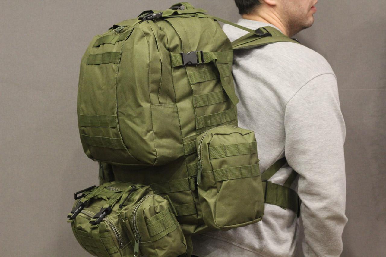 Тактический Штурмовой Военный Рюкзак с подсумками на 50-60 литров Олива (1004 олива)