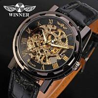 Мужские механические часы Winner Chokolate. Наручные часы скелетоны с прозрачным механизмом