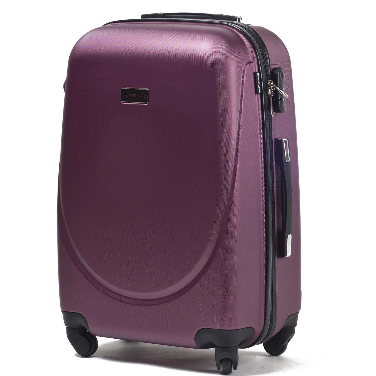 Средний пластиковый чемодан Wings 310 на 4 колесах бордовый