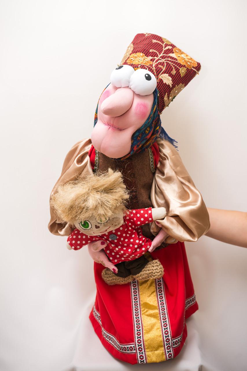 Каркасная интерьерная кукла Vikamade Баба-Яга с Кузей.