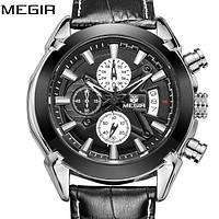 Чоловічий наручній годинник Megir Montre Dark. Класичний кварцевий годинник на ремінці