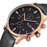 Мужские наручные часы Megir 2011 Elite. Классические наручные часы с хронографом и датой