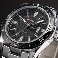 Мужские наручные часы Curren Steel. Классические кварцевые часы с отображением даты