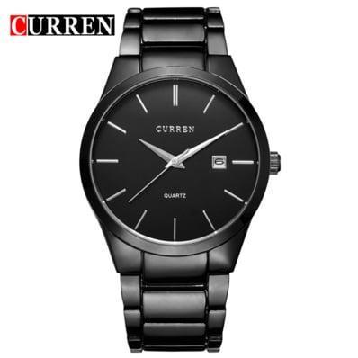 Мужские наручные часы Curren Black Ich. Классические кварцевые черные часы с датой