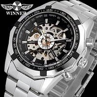 Чоловічий механічний годинник Winner Steel Skelet. Наручний сталеві годинник скелетоны
