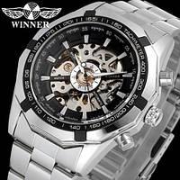 Мужские механические часы Winner Steel Skelet. Наручные стальные часы скелетоны