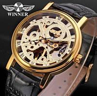 Наручные механические часы Winner Black Fox. Стильные часы скелетоны с открытым механизмом