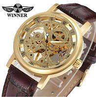 Механические часы Winner Golden Fox. Наручные часы скелетоны с открытым механизмом