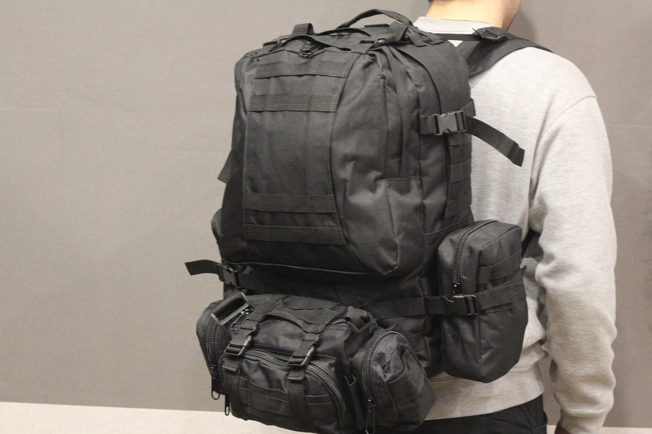 Тактический Штурмовой Военный Рюкзак с подсумками на 50-60 литров Black (1004 черный)