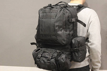 Тактический Штурмовой Военный Рюкзак с подсумками на 50-60 литров Black (1004 черный), фото 2
