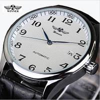 Мужские механические часы Winner Lux White. Классические наручные часы с отображением даты