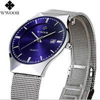 Мужские наручные часы Wwoor Slim. Тонкие классические часы кварцевые на батарейке