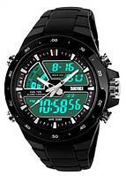 Чоловічий наручній годинник Skmei 1016 Siktrum Black. Спортивний електронний годинник з підсвіткою