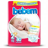 Подгузники Bebem 2 Mini Jumbo Pack (3-6 кг), 80 шт.