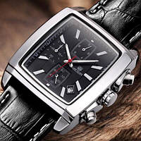 Мужские кварцевые часы Megir 2028 Verona. Классические наручные прямоугольные часы с датой