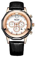 Женские кварцевые часы Megir 2042 Guaro Black. Стильные классические наручные часы с хронографом и датой