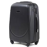 Средний пластиковый чемодан Wings 310 на 4 колесах черный, фото 1