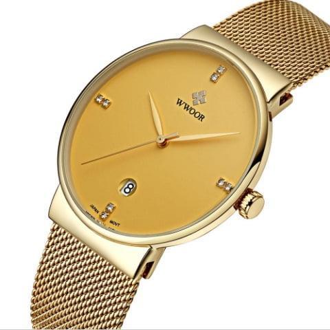 efd2a7762e5b Мужские наручные часы Wwoor Gold. Тонкие кварцевые часы с датой на браслете