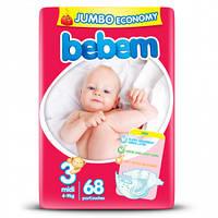 Подгузники Bebem Midi размер 3 (4-9 кг), 68шт Jumbo Pack