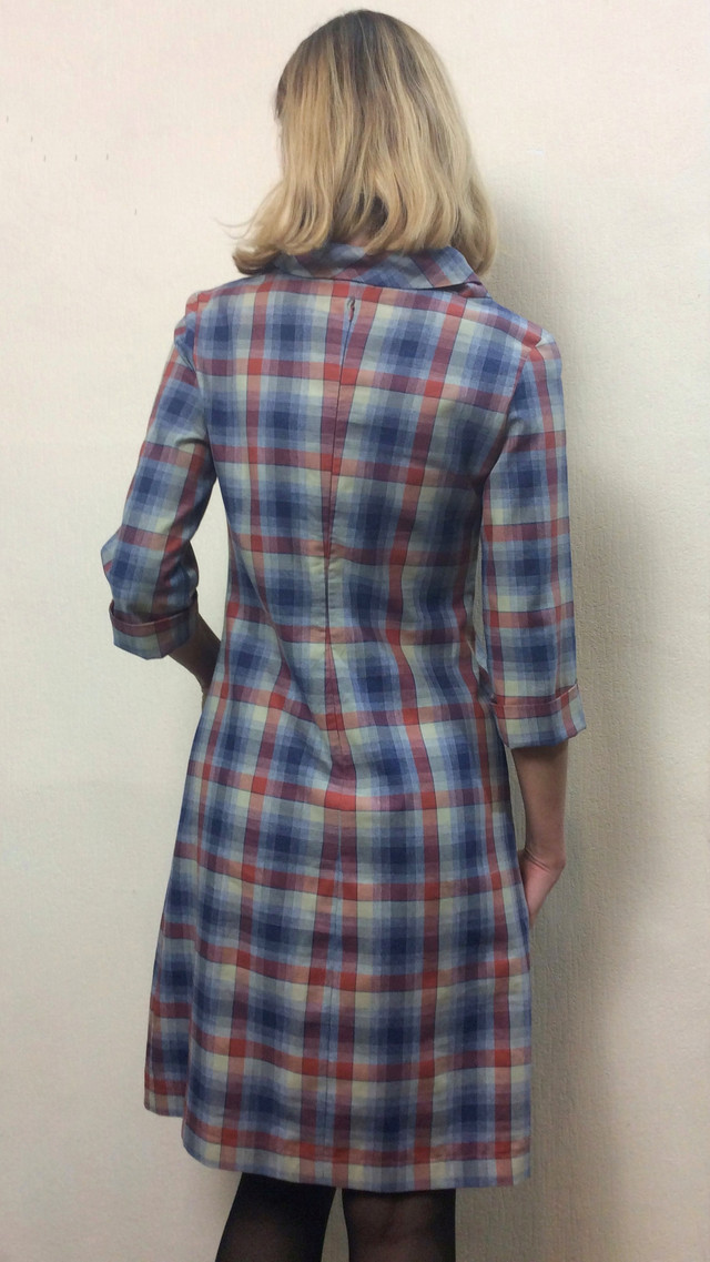 Женское платье в клетку, трапеция П190