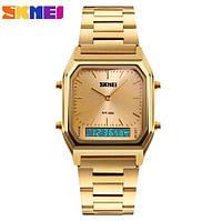 Мужские наручные часы Skmei 1220 Montana. Стильные кварцевые часы золотого цвета