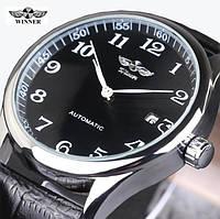 Мужские механические часы Winner Lux Black. Классические наручные часы с отображением даты